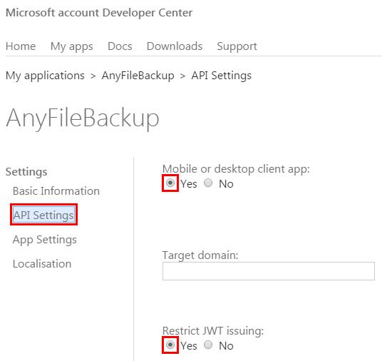 Microsoft OneDrive Account — AnyFileBackup
